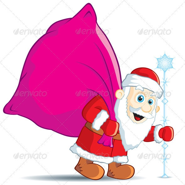 Christmas Santa Claus with a bag of gifts - Characters Vectors