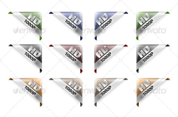 HD Corner Ribbons  - Web Elements