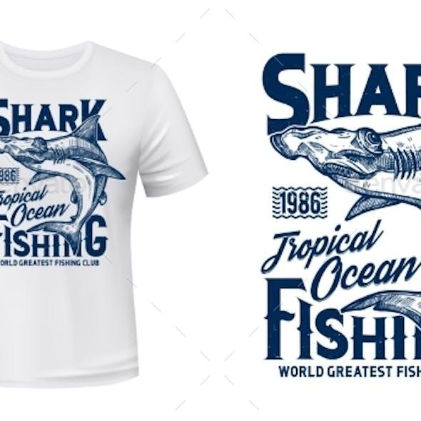 T-shirt Print with Hammer Head Shark Vector Mascot