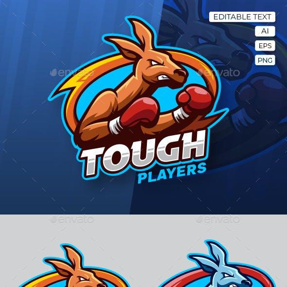 Boxing Kangaroo Esport Logo Template