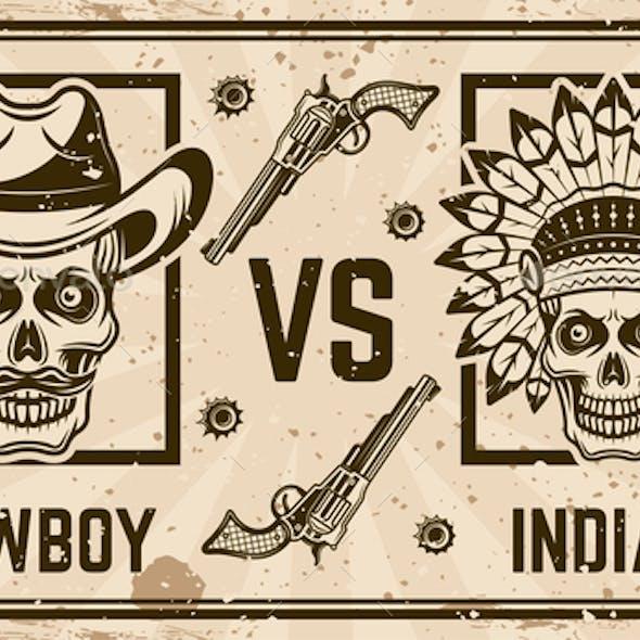 Cowboy Versus Indian Vector