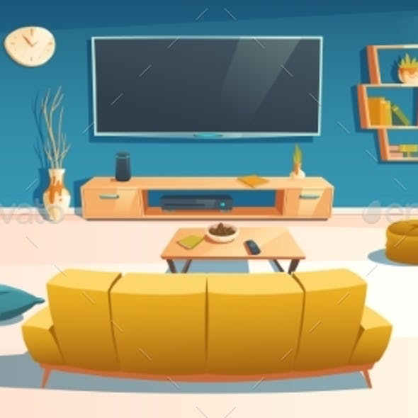 Living Room Interior with Sofa and TV in Apartment