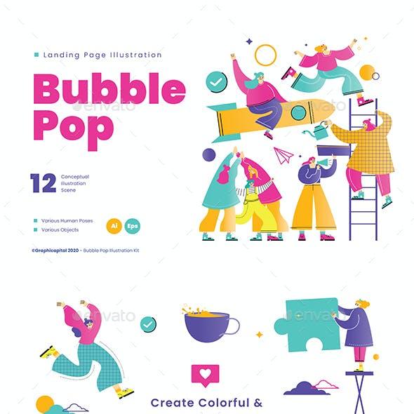 Bubble Pop Landing Page Illustration Pack
