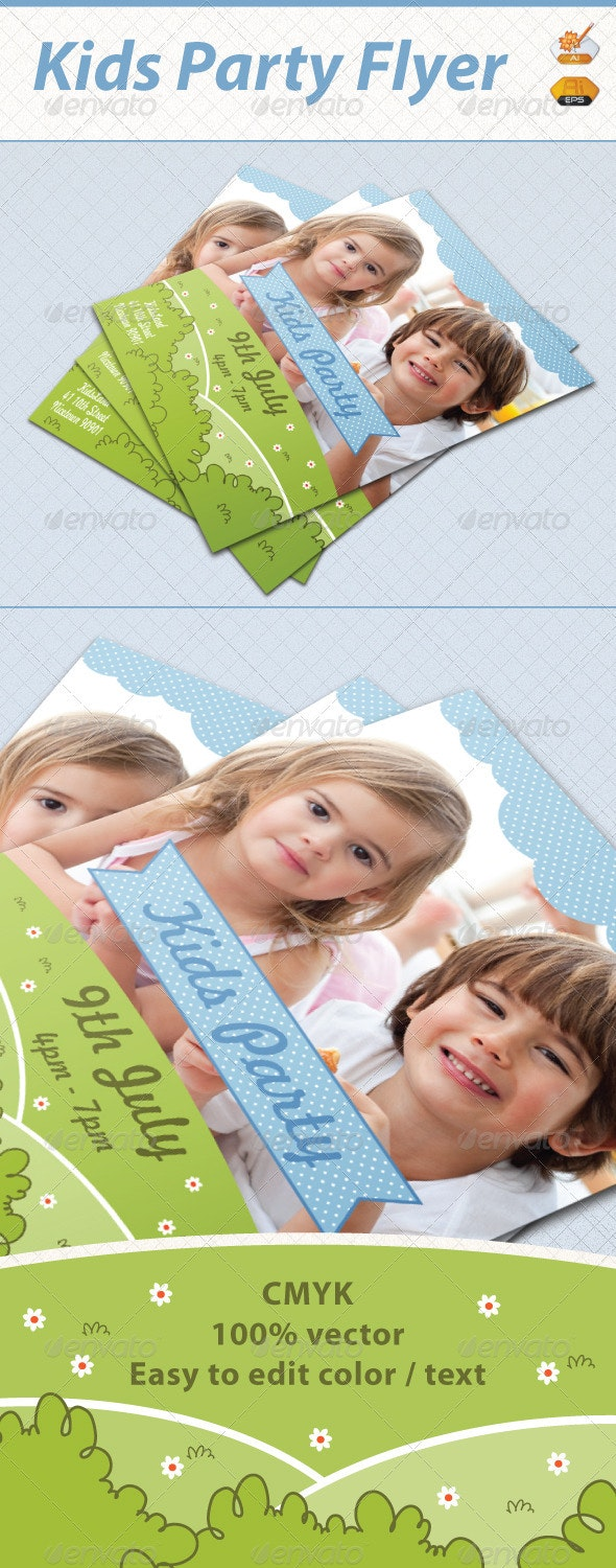 Kids Garden Party Flyer Template - Events Flyers