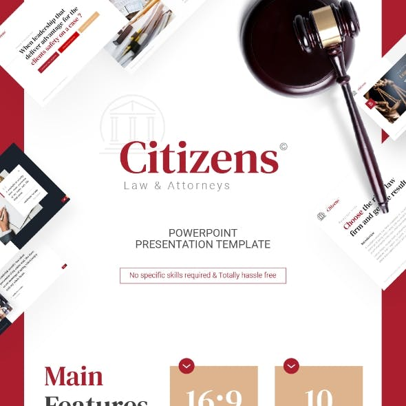 Citizens Law PowerPoint Template Fully Animated