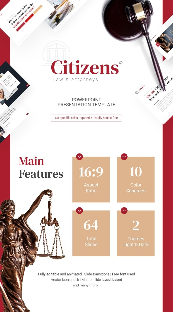 Citizens Law PowerPoint Template Fully Animated - Business PowerPoint Templates
