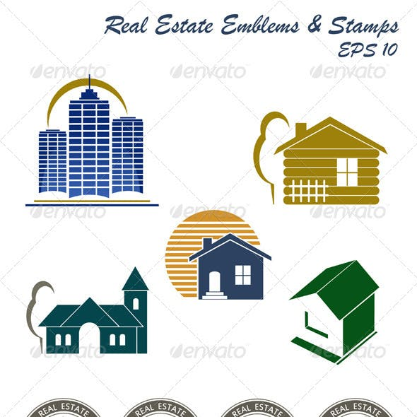 Real Estate Emblem And Stamp Set