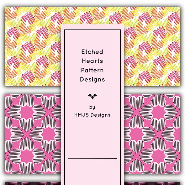 Etched Hearts Pattern Set