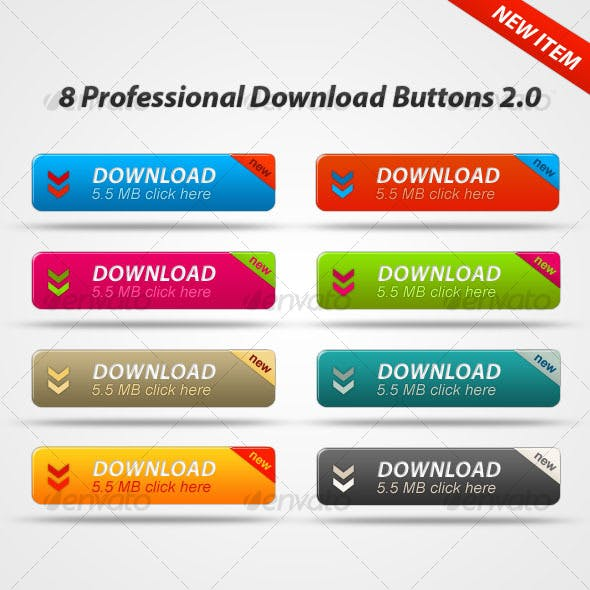 8 Professional Donwload Buttons 2.0