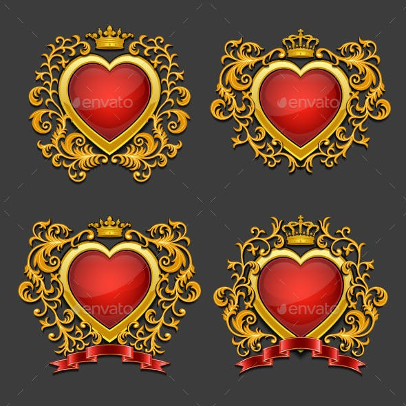 Set of Golden Hearts