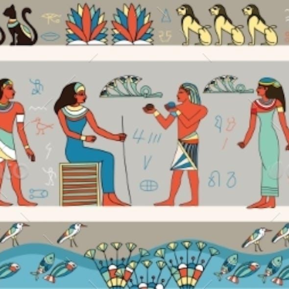 Colorful Frieze Depicting Ancient Egyptians