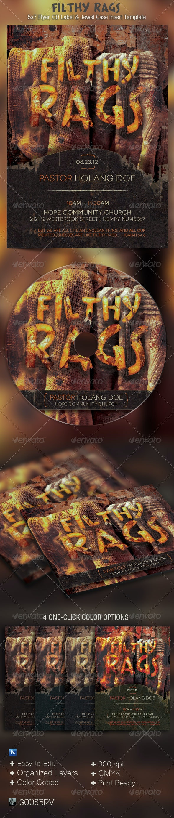 Filthy Rags Flyer CD Template - Church Flyers