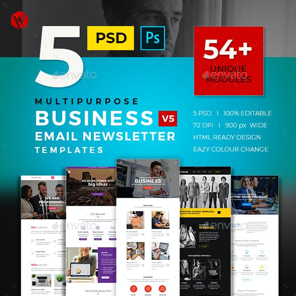 5 Business Email Newsletter PSD Templates v5