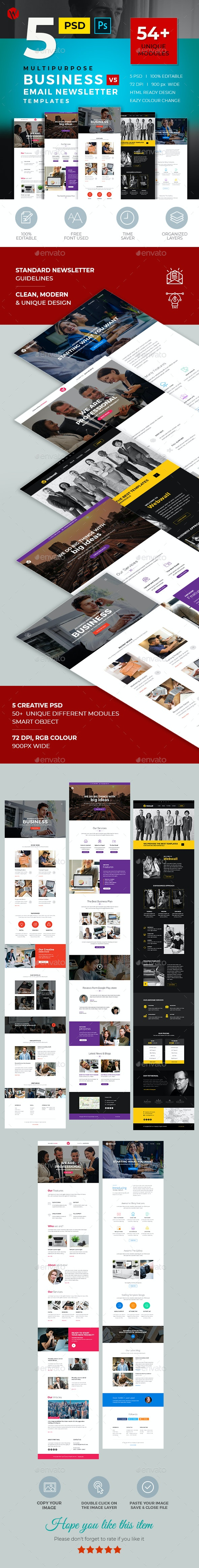 5 Business Email Newsletter PSD Templates v5 - E-newsletters Web Elements