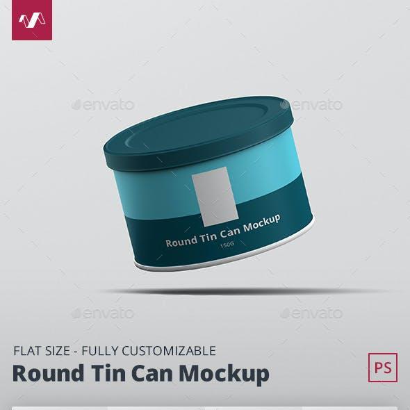 Tin Can Mockup Round Flat