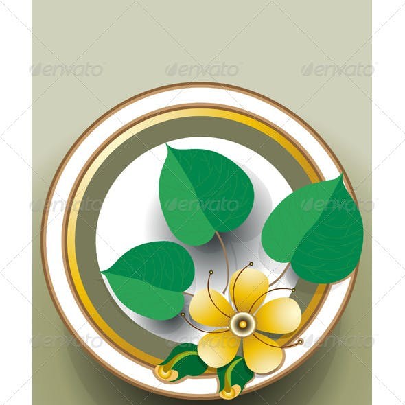 Oval Frame with Yellow Flower.