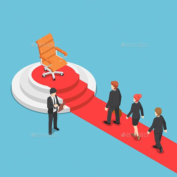 Isometric Businessman in A Queue for Job Recruitment with Empty Chair on Pedestal and Red Carpet