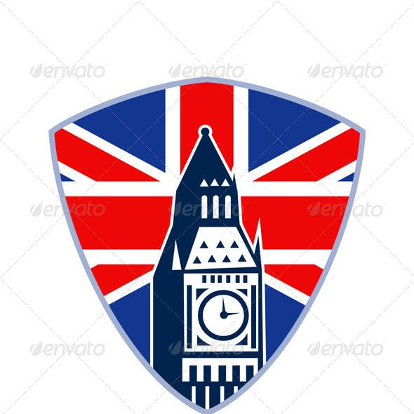 Big Ben British Flag Shield