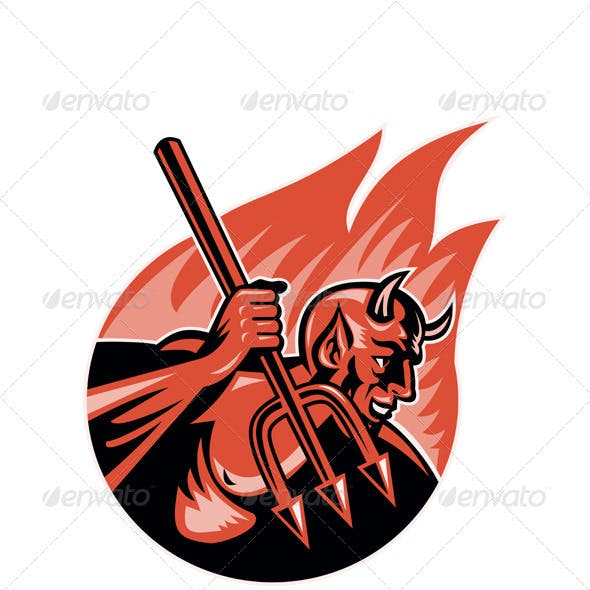 Devil Demon With Trident Pitchfork
