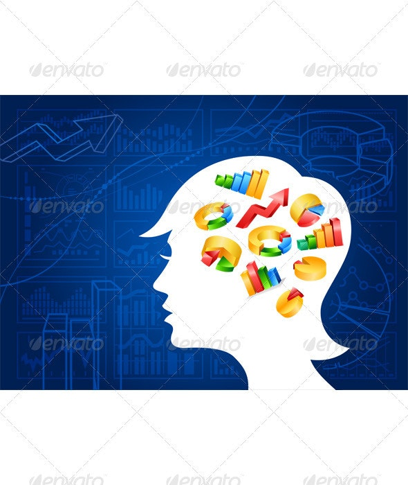 Woman head silhouettes with color charts inside - Backgrounds Decorative