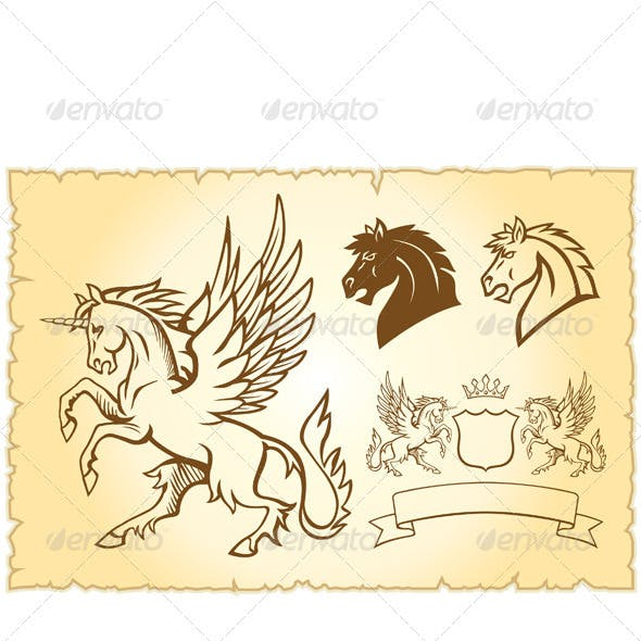 Winged mystery horse illustration
