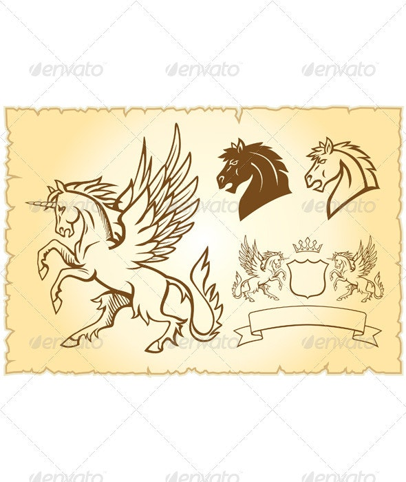 Winged mystery horse illustration - Monsters Characters