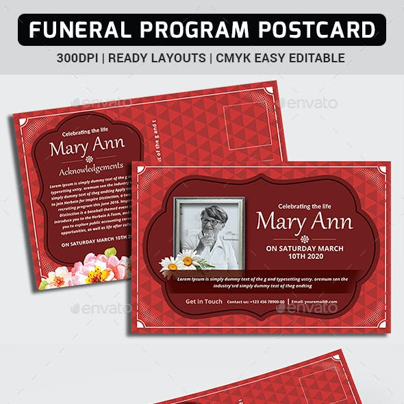 Funeral Program Postcard