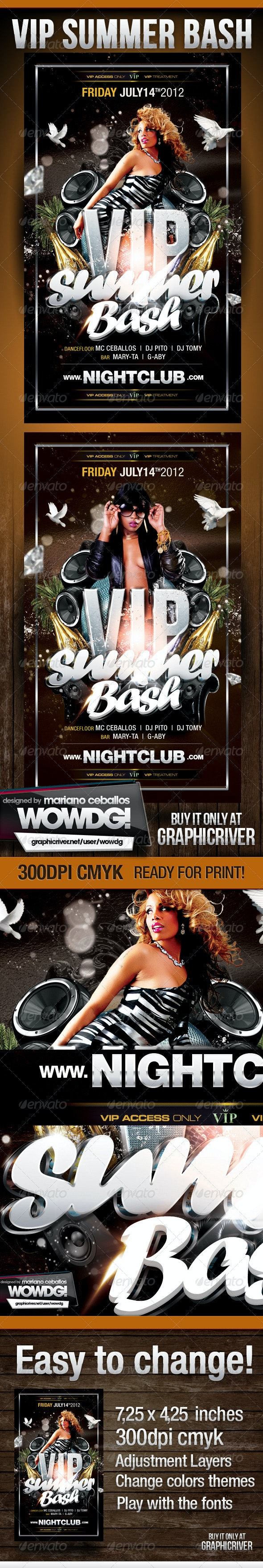Vip Summer Bash Party Flyer Template - Clubs & Parties Events