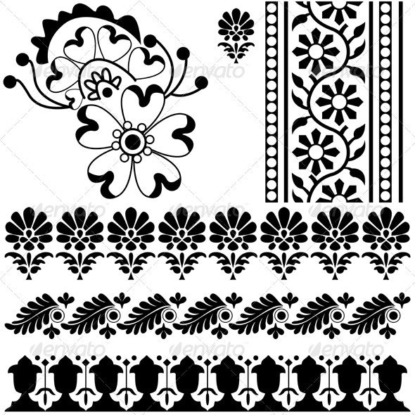 Indian ornaments - Flourishes / Swirls Decorative