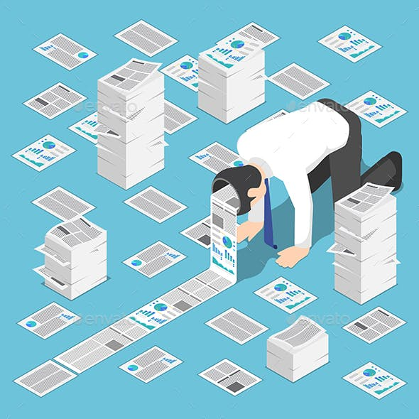 Isometric A Lot Of Document Come Out From Businessman Head