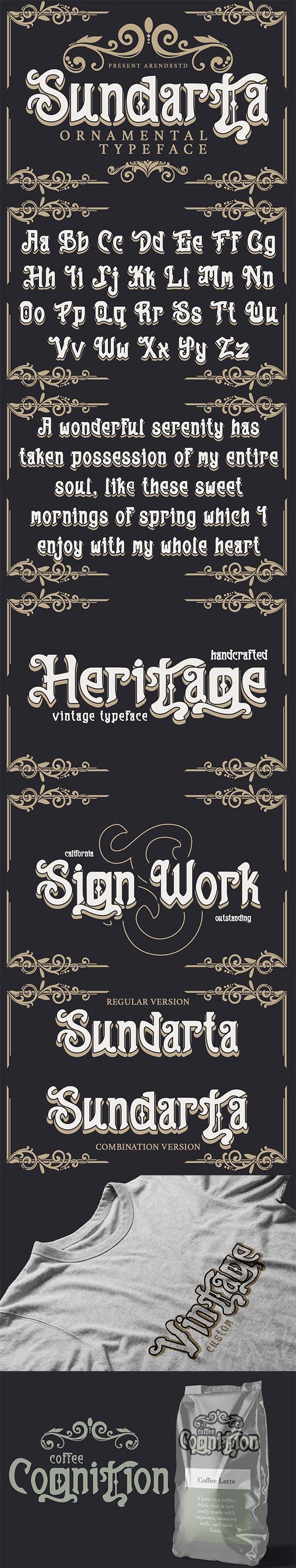 Sundarta | Vintage Typeface - Fancy Fonts