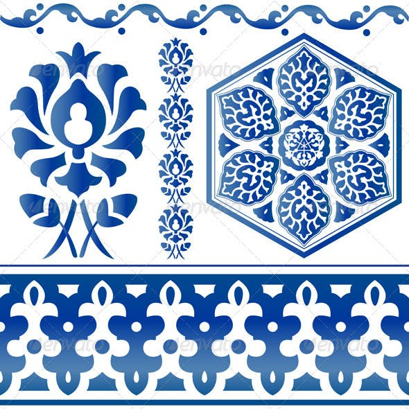 Blue Islamic design elements