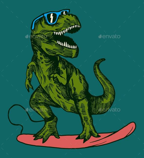 Dinosaur Surfing - Animals Characters