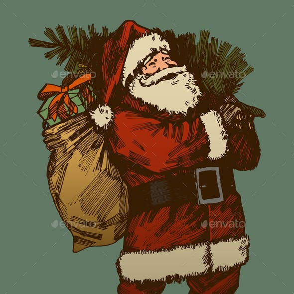 Vintage Santa Claus Drawing