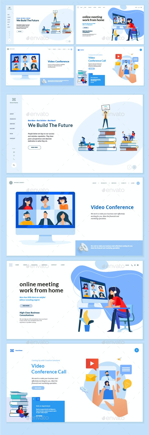 Video Calling and Conference Meeting - Web Elements Vectors