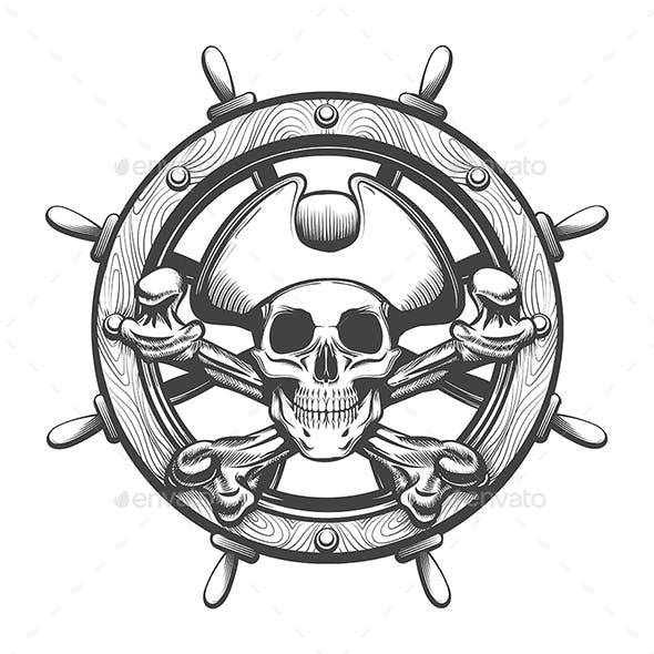 Ship Steering Wheel with Pirate Skull Inside Tattoo