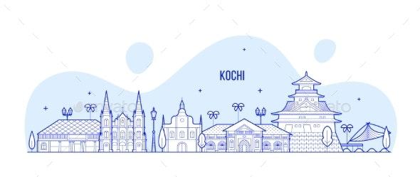 Kochi Skyline India Trendy Vector Linear Style - Buildings Objects