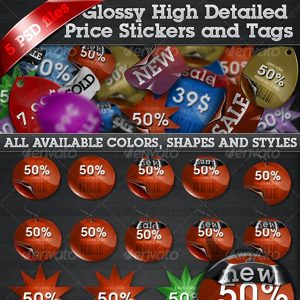 Glossy High Detailed Price Stickers and Tags