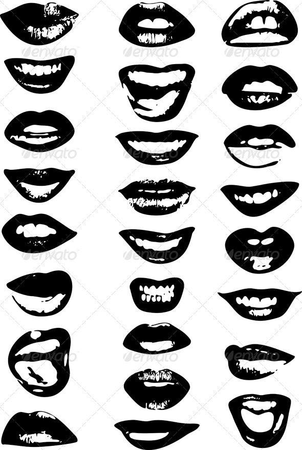 Lips Set Woman - Decorative Vectors