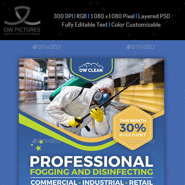 Disinfecting and Cleaning Services Social Media Template
