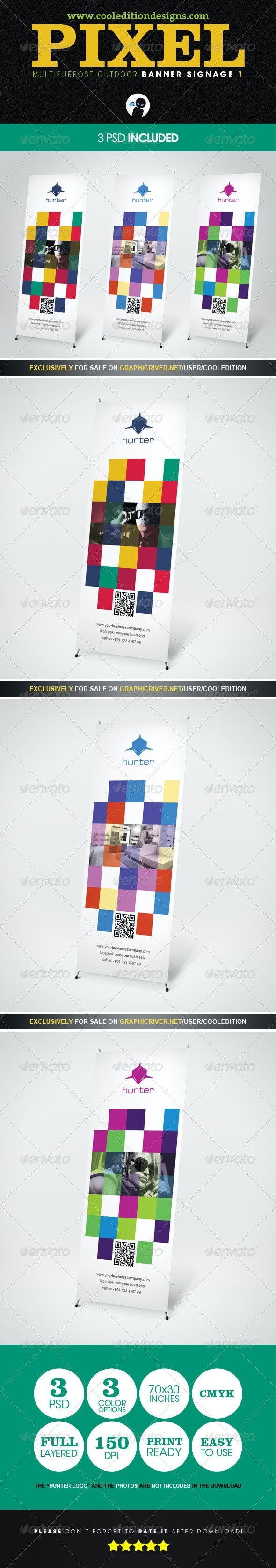 Pixel - Multipurpose Outdoor Banner Signage 1 - Signage Print Templates