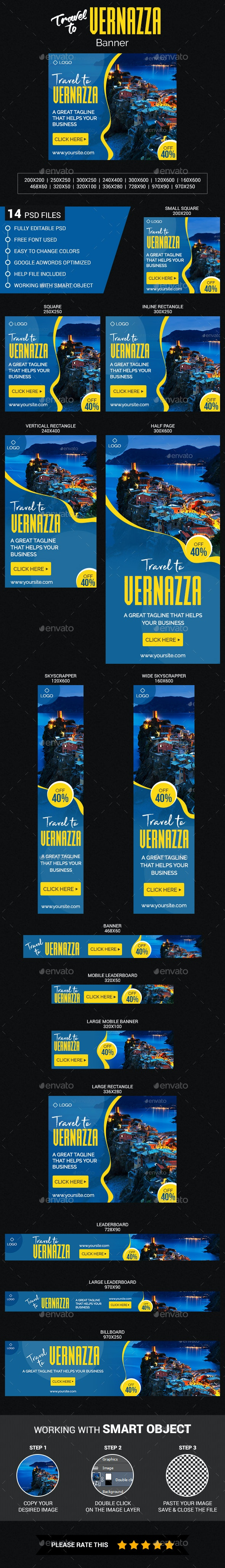Travel to Vernazza - Banners & Ads Web Elements