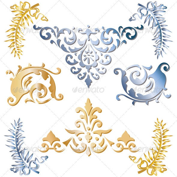 Gold and blue medieval ornaments - Flourishes / Swirls Decorative