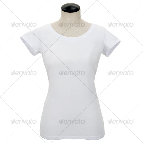 White Womans Tee Shirt on Mannequin