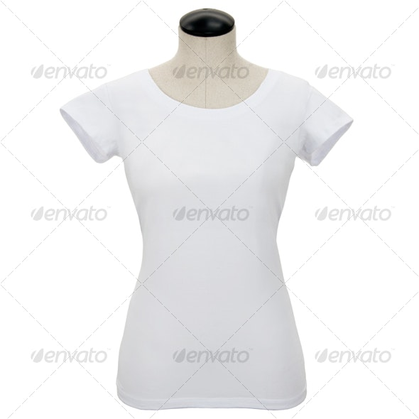 White Womans Tee Shirt on Mannequin - Clothes & Accessories Isolated Objects