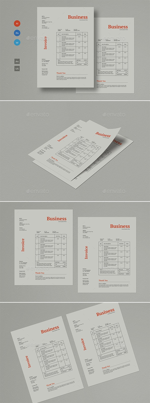 Simple Invoice Layout - Stationery Print Templates