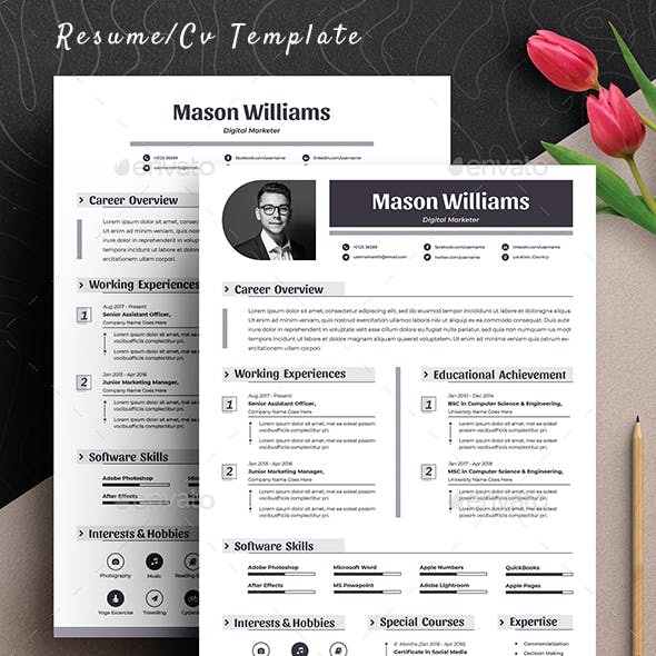 Professional Clean Resume Cv Template Word Apple Pages