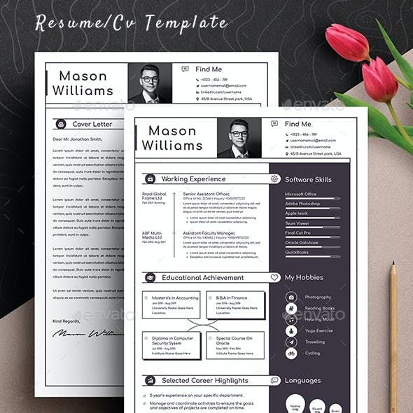 Professional Resume Cv Template Word Apple Pages