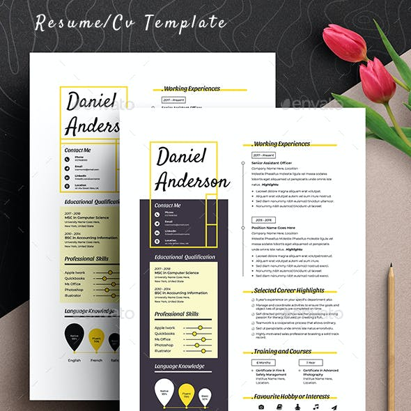 Clean Minimal Resume Cv Template Word Apple Pages