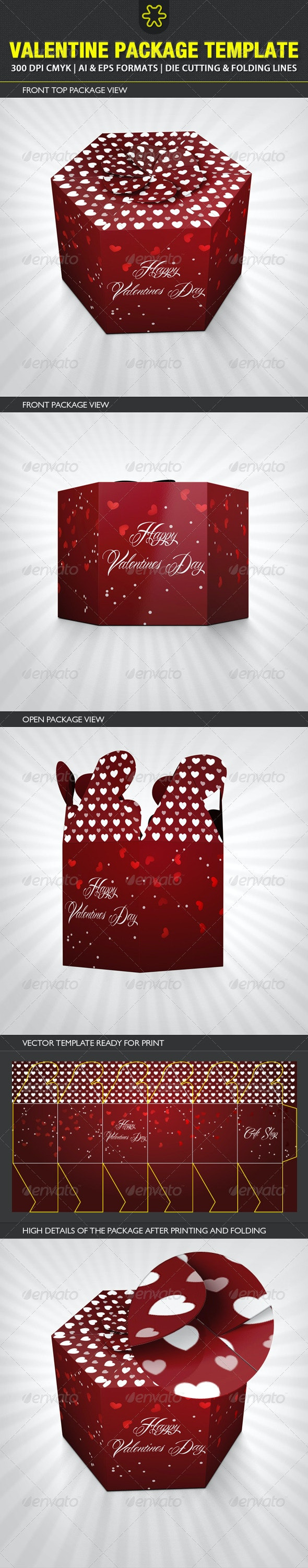 Valentine Package Template - Packaging Print Templates